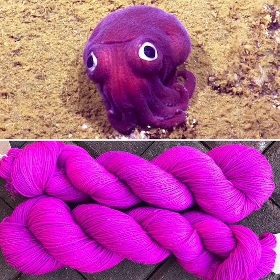 Stubby Squid, 75/25 merino nylon pink purple UV reactive indie dyed sock yarn