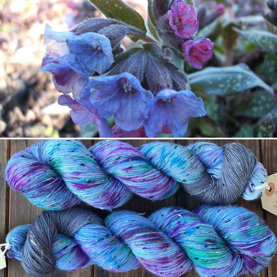 Lungwort Donegal sock, speckled blue grey gray indie dyed merino yarn with neps
