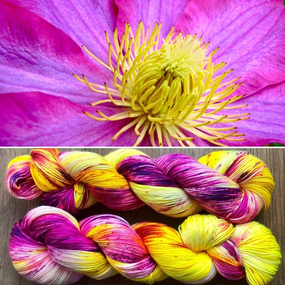 Ornamental Flower Silky Sock, merino mulberry silk yarn