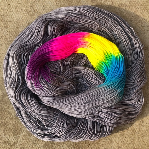 Grey Skies Rainbow BFL, bluefaced leicester nylon blend sock yarn