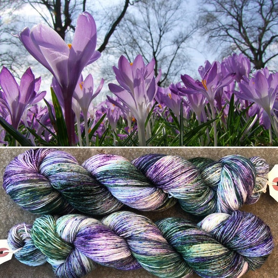 Woodland Crocuses, indie dyed merino nylon sock yarn
