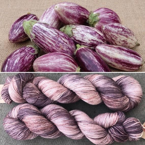 Speckled Aubergine, purple speckled merino nylon sock yarn