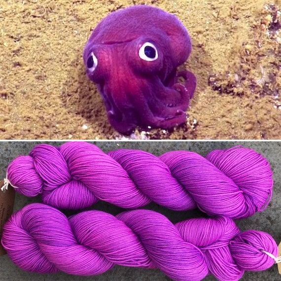 Stubby Squid, 75/25 merino nylon pink purple UV reactive indie dyed sock yarn