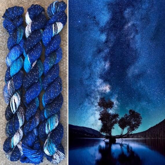 Sparkly Night Sky 20g Miniskein, merino nylon sock yarn