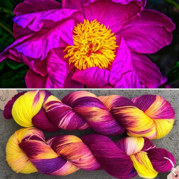 Ornamental Flower, merino nylon sock yarn