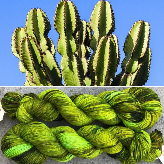 Cactus BFL, indie dyed bluefaced leicester nylon sock yarn
