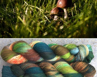 Autumn is Coming Sparkle Sock, indie dyed merino nylon yarn in speckled fall greens