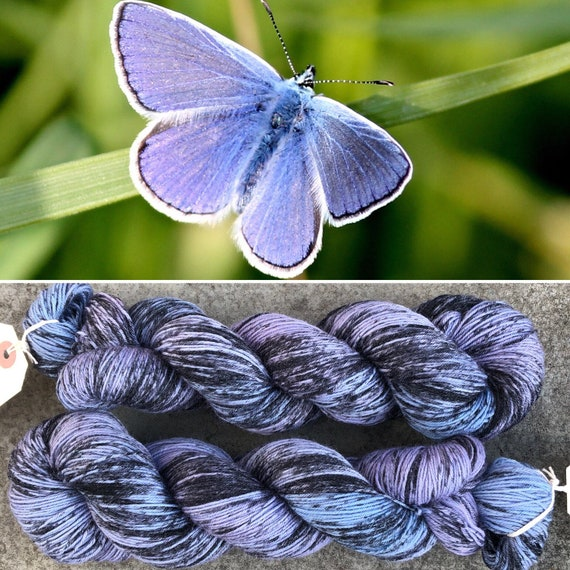 Common Blue BFL, butterfly theme bluefaced leicester nylon sock yarn