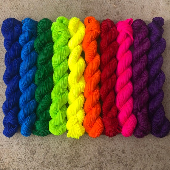 Bright Rainbow Miniskein Gift Set, 10 x 20g solid colour merino nylon sock yarn
