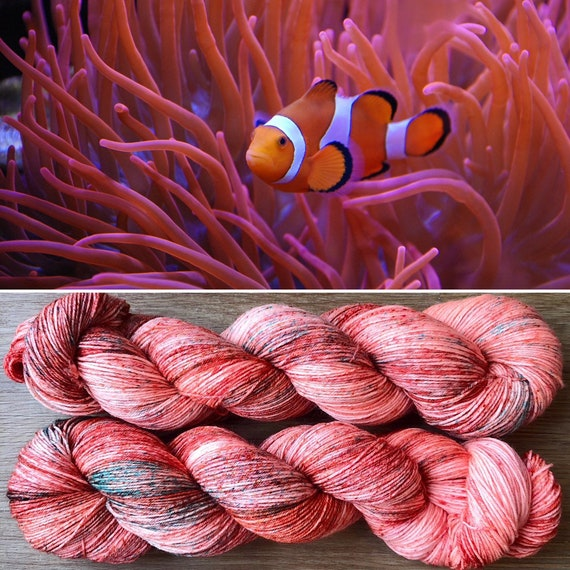 Coral Reef BFL, bluefaced leicester nylon sock yarn