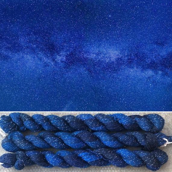 Sparkly Midnight Sky Miniskein, merino nylon sock yarn