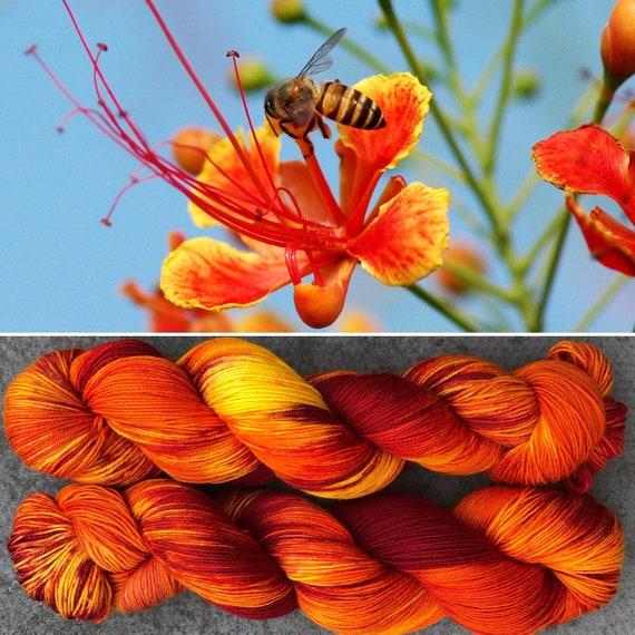 Peacock Flower, speckled merino nylon blend sock yarn