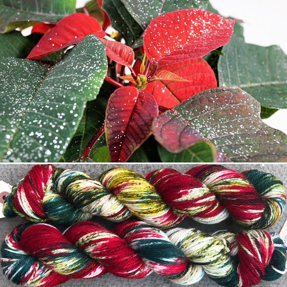 Poinsettia Aran, holiday theme superwash merino yarn