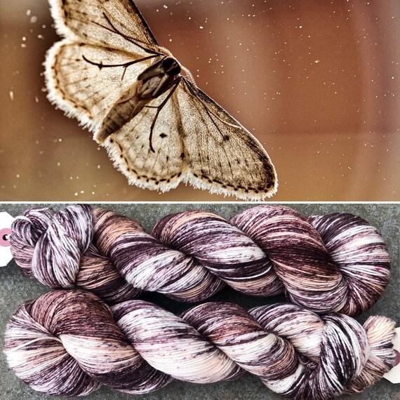 Brown Moth in Flight, indie dyed merino nylon sock yarn