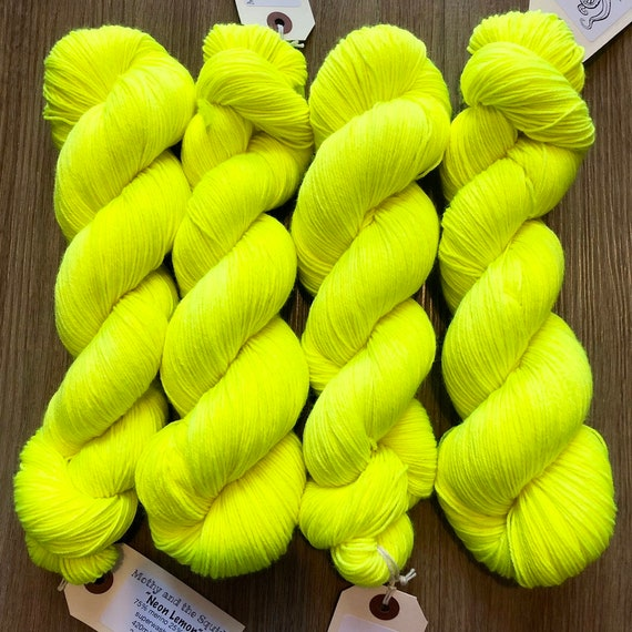 Neon Lemon, merino nylon sock yarn