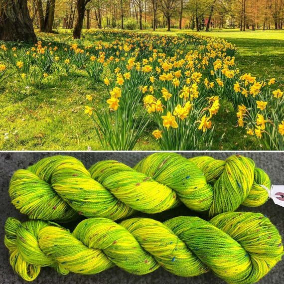 Neon Daffodils Donegal Sock, 4ply merino yarn with multicolour nep