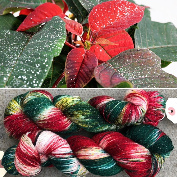 Poinsettia Sparkle Sock, 4ply merino nylon yarn
