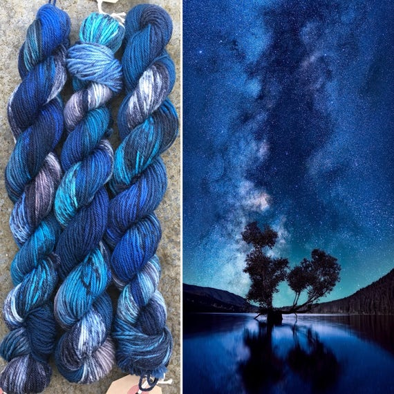 Night Sky 20g Miniskein, indie dyed merino nylon sock yarn