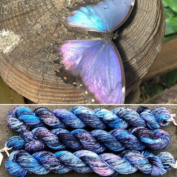 Peleides Blue Morpho 20g Miniskein, merino nylon sock yarn
