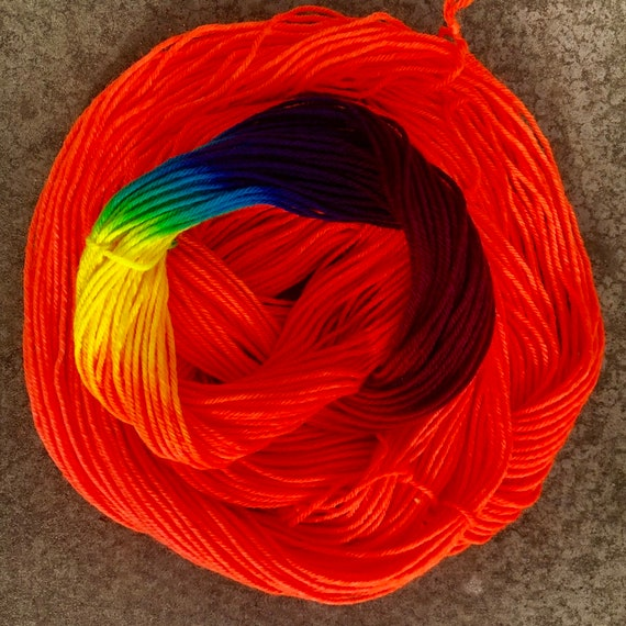 Orange Skies Rainbow 20g Miniskein, merino nylon sock yarn