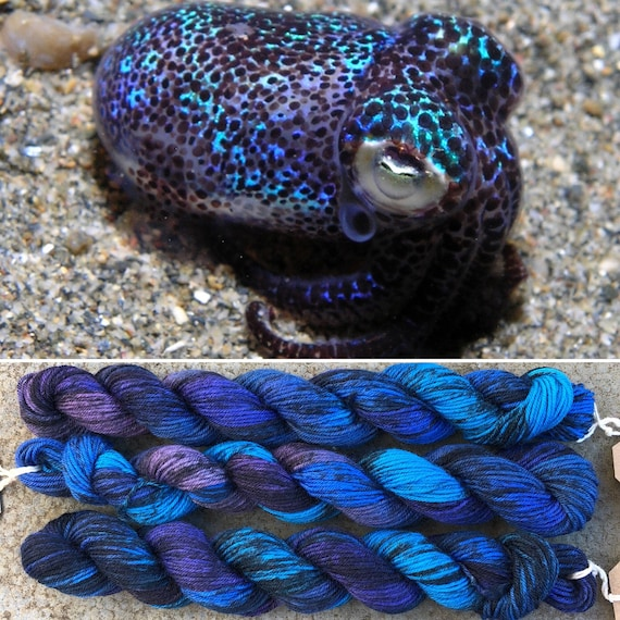 Bobtail Squid 20g Miniskein, speckled purple blue merino nylon sock yarn