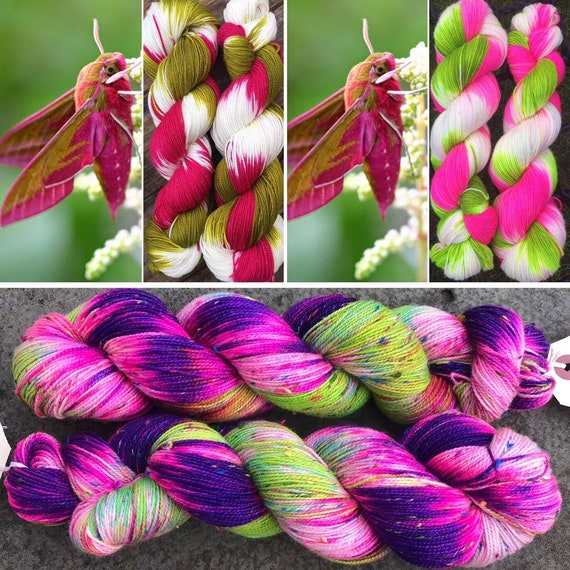 Zombie Hawkmoth Donegal sock, merino sock yarn with multicoloured neps.