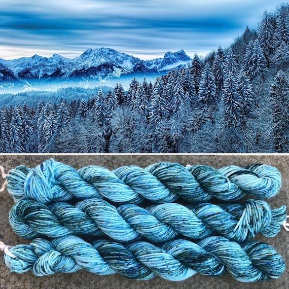 Frozen Forest 20g Miniskein, merino nylon sock yarn