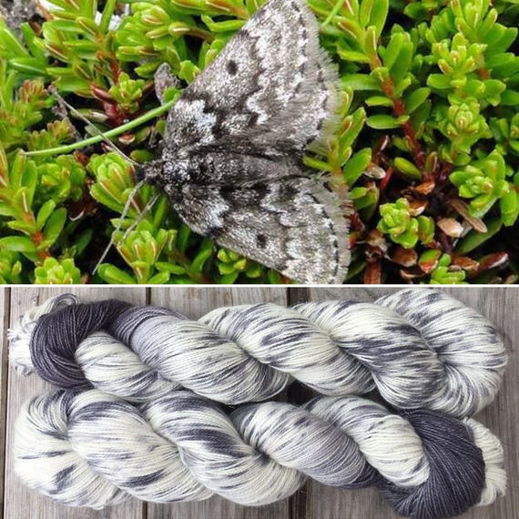 SALE Mountain Moth Sparkle Sock, merino nylon blend grey gray speckle dyed indie yarn