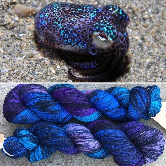 Bobtail Squid, speckled purple blue merino nylon sock yarn