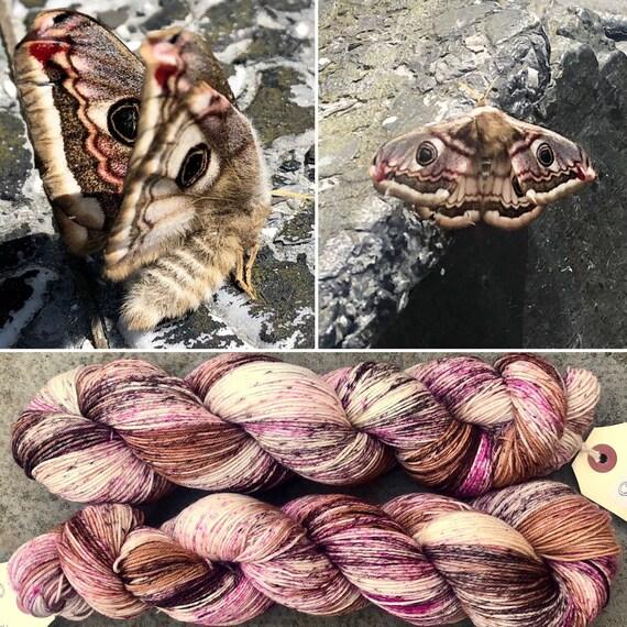 Emperor Moth, merino nylon speckled sock yarn