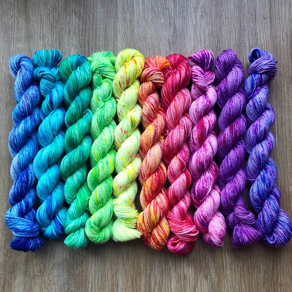 Fruit Sorbet Rainbow Miniskein Gift Set, 10 x 20g speckled merino nylon indie dyed sock yarn