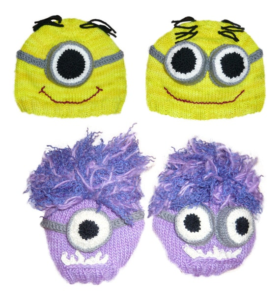 Despicable Me Minion Hat Knitting Pattern pdf - yellow, purple, one or two eyes