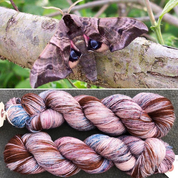June Hawkmoth BFL, bluefaced leicester nylon sock yarn