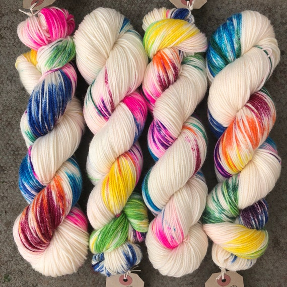 Industrial Accident Sport, rainbow speckled merino nylon baby weight sock yarn
