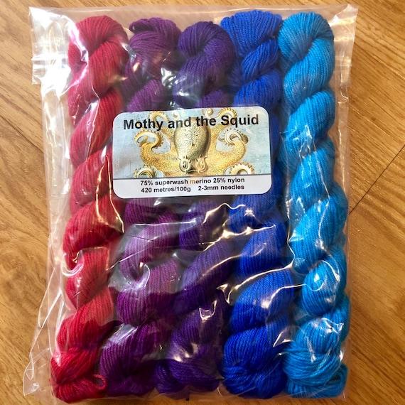 Half Rainbow Miniskein Gift Set, merino nylon sock yarn
