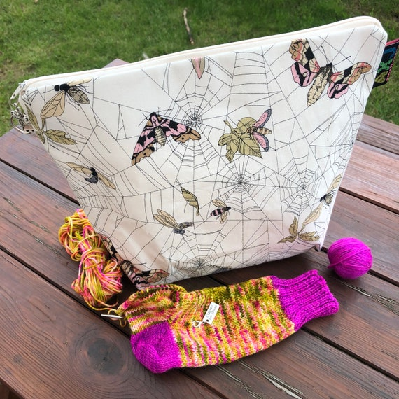 Web of Moths, sock wedge project bag Mothy and the Squid / AmeliaXJoy collab