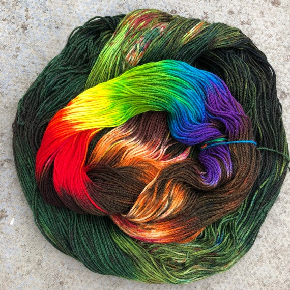 Autumn Rainbow, indie dyed merino nylon sock yarn