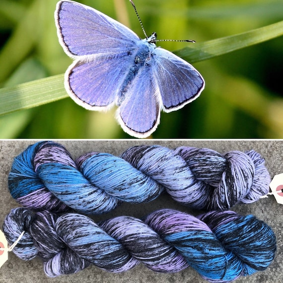 Common Blue, butterfly theme merino nylon sock yarn