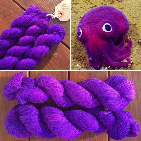 Stubby Squid, 75/25 merino nylon purple UV reactive indie dyed sock yarn