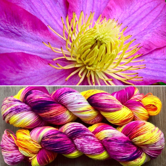 Ornamental Flower BFL, bluefaced leicester nylon sock yarn