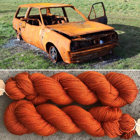 Rust Bucket 20g Miniskein, indie dyed merino nylon sock yarn
