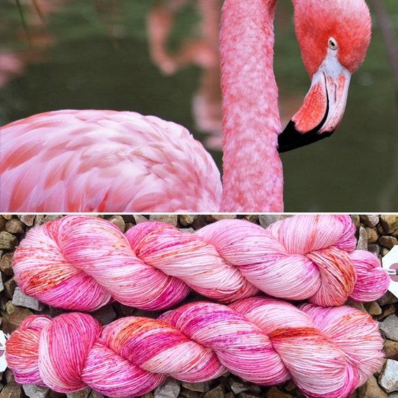 Peach Flamingo Beach, merino nylon sock yarn