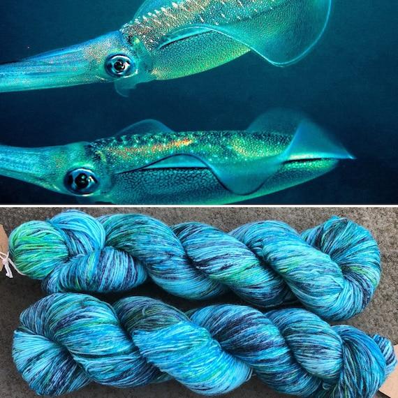 Bigfin Reef Squid, blue green speckled merino nylon sock yarn