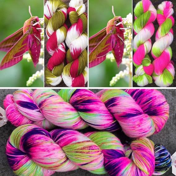 Zombie Hawkmoth 100% merino, extrafine superwash 4ply/fingering yarn