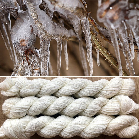Icicles 20g Miniskein, undyed merino nylon sock yarn with silver sparkle
