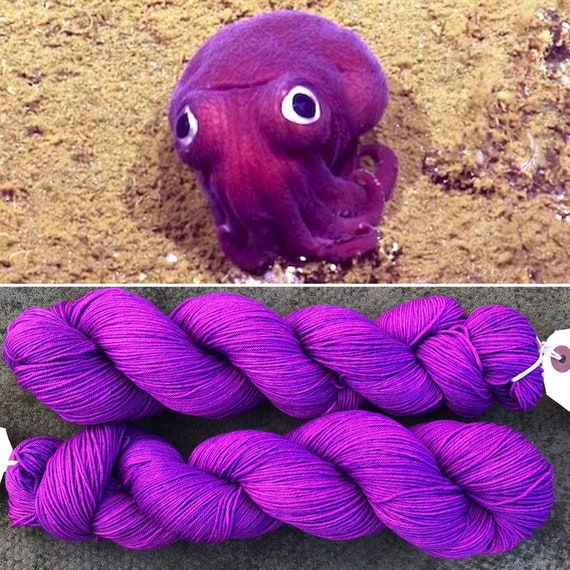 Speckled Stubby Squid, 75/25 merino nylon indie dyed sock yarn