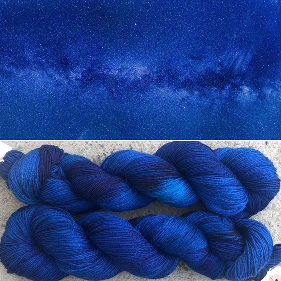 Midnight Sky BFL, indie dyed bluefaced leicester nylon sock yarn