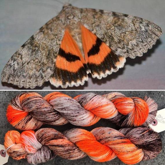 Orange Underwing, 4ply merino nylon sock yarn