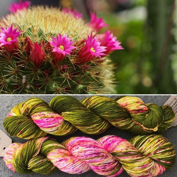 Flowering Cactus Sport, indie dyed merino nylon sock yarn