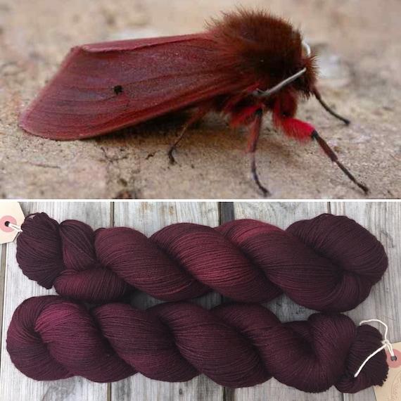 Ruby Tiger Moth, merino nylon blend indie dyed sock yarn